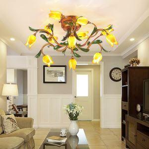 Plafonnier LED Fer doré tulipe à 12 lampes luxe pour salon