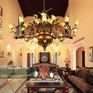 Lustre LED Fer doré tulipe à 30 lampes luxe pour salon