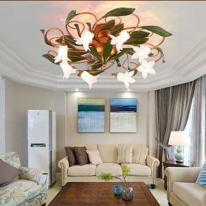 Style européen Vintage rétro Fer lys en blanc/Lotus en blanc abat-jour vernissé 8 lumières LED Plafonnier 2 modèles