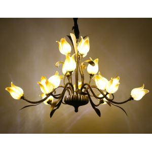 (Entrepôt UE) Style européen Vintage rétro Fer Rouge/d'or/blanc tulipe abat-jour vernissé 5 lumières LED Lustre 3 modèles