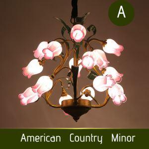 Style européen Vintage rétro Fer rose en fuchsia/blanc abat-jour vernissé avec 5 lumières LED Lustre 2 modèles