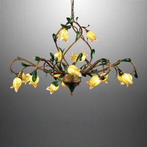 Lustre LED Fer doré tulipe à 21 lampes luxe pour salon