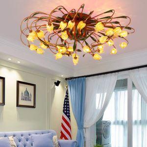 Style européen Vintage rétro Fer d'or tulipe abat-jour vernissé 24 lumières LED Plafonnier
