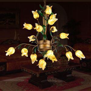 (Entrepôt UE) Style européen Vintage rétro Fer d'or tulipe abat-jour vernissé 8 lumières LED Lustre