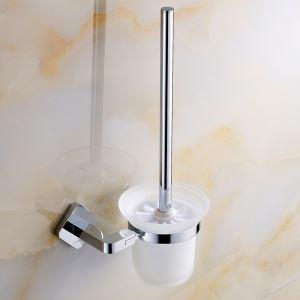 (Entrepôt UE) Style moderne simple Accessoires de salle de bain en cuivre Chrome support de brosse de toilette