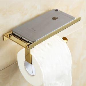 (Entrepôt UE) Style moderne simple Accessoires de salle de bain en cuivre Porte-papier porte-téléphone deux modèles
