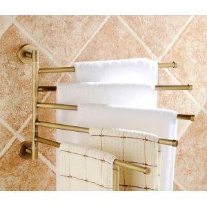 (Entrepôt UE) Style européen rétro Accessoires de salle de bain en cuivre Rotation de cinq porte-serviettes