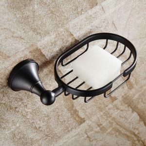 (Entrepôt UE) Style européen Accessoires de salle de bain en cuivre rétro en noir porte-savon