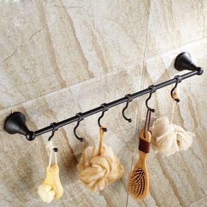 (Entrepôt UE) Style européen Accessoires de salle de bain en cuivre rétro barre de serviette unique noir avec crochet