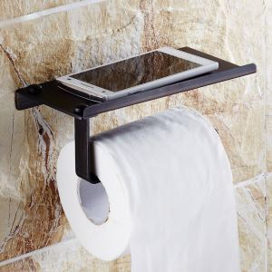 (Entrepôt UE) Style européen Accessoires de salle de bain en cuivre rétro en noir Porte-papier porte-téléphone