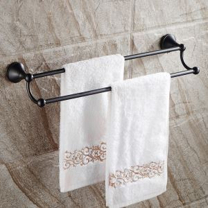 (Entrepôt UE) Style européen Accessoires de salle de bain en cuivre Noir double barre de serviette rétro