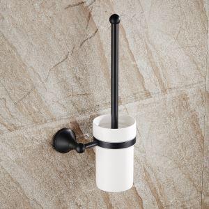 (Entrepôt UE) Support de brosse de toilette accessoires de salle de bain en cuivre rétro noir style européen