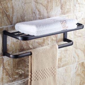 (Entrepôt UE) Style européen Accessoires de salle de bain en cuivre porte-serviettes noir rétro