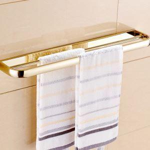(Entrepôt UE) Style moderne simple Accessoires de salle de bain en cuivre Double barre de serviette d'or