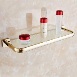 (Entrepôt UE) Style moderne simple Accessoires de salle de bain en cuivre Etagère or