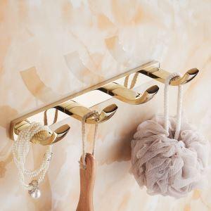 Style moderne simple Accessoires de salle de bain en cuivre quatre rangées de crochets d'or