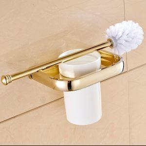 (Entrepôt UE) Style moderne simple Accessoires de salle de bain en cuivre support de brosse de toilette d'or