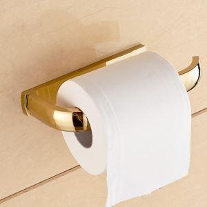 (Entrepôt UE) Style moderne simple Accessoires de salle de bain en cuivre Porte-papier d'or