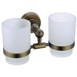 (Entrepôt UE) Style européen Accessoires de salle de bain en cuivre rétro porte-gobelets à dents