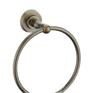 Style européen Accessoires de salle de bain en cuivre rétro anneau porte-serviettes