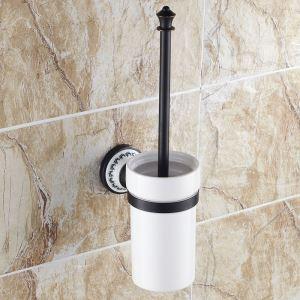 (Entrepôt UE) Style européen Accessoires de salle de bain en cuivre rétro support de brosse de toilette