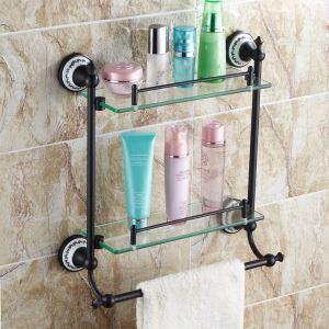 (Entrepôt UE) Style européen Accessoires de salle de bain en cuivre rétro Etagère à double couches