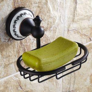 (Entrepôt UE) Style européen Accessoires de salle de bain en cuivre rétro porte-savon