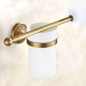 (Entrepôt UE) Style européen rétro Accessoires de salle de bain en cuivre support de brosse de toilette