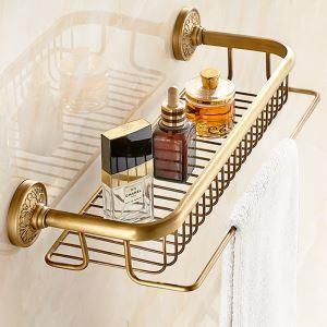 (Entrepôt UE) Style européen rétro Accessoires de salle de bain en cuivre Etagères