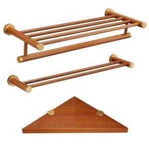 (Entrepôt UE) Style européen simple Accessoires de salle de bain Porte-serviettes Double barre de serviette Etagères de trépied