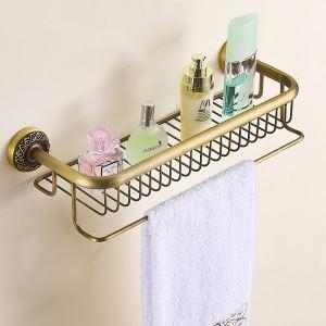 (Entrepôt UE) Style européen rétro accessoires salle de bain en cuivre Etagères deux modèles
