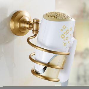 (Entrepôt UE) Style européen rétro accessoires salle de bain en cuivre porte-sèche-cheveux