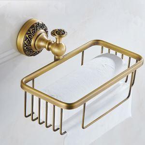 (Entrepôt UE) Style européen rétro accessoires salle de bain en cuivre porte-papier