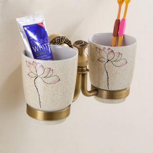 (Entrepôt UE) Style européen rétro accessoires salle de bain en cuivre porte-gobelets à dents double tasses