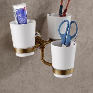 (Entrepôt UE) Style européen rétro accessoires salle de bain en cuivre porte-gobelets à dents trois tasses