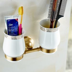Style européen rétro accessoires salle de bain en cuivre porte-gobelets à dents double tasses
