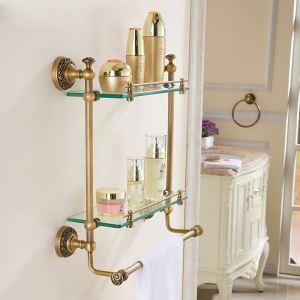 Etagère en cuivre pour salle de bain antique à 2 couches H42cm