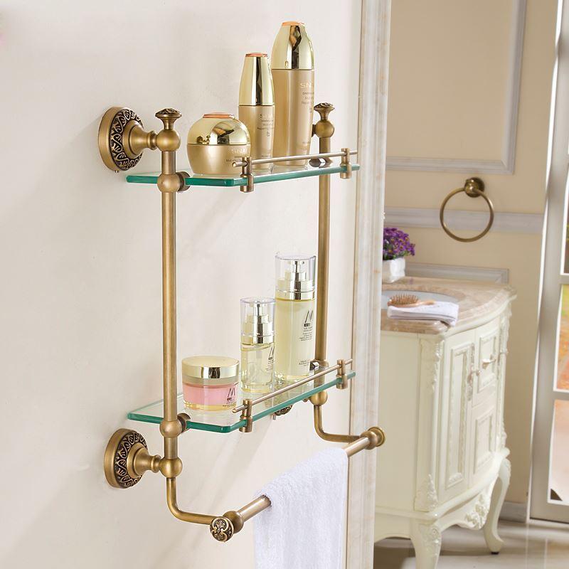 etag re en cuivre pour salle de bain antique 2 couches h42cm. Black Bedroom Furniture Sets. Home Design Ideas
