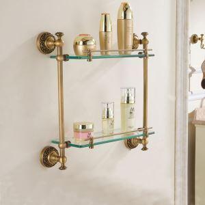 (Entrepôt UE) Style européen rétro accessoires salle de bain en cuivre Etagères à double couches