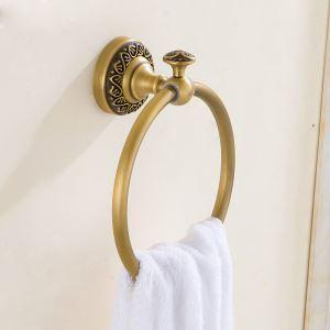 Style européen rétro accessoires salle de bain en cuivre anneau porte-serviettes