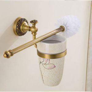 (Entrepôt UE) Style européen rétro accessoires salle de bain en cuivre porte-brosse de toilette Le fond du trou / sans trous deux modèles