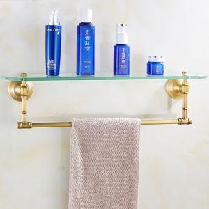 (Entrepôt UE) Style européen rétro accessoires salle de bain en cuivre Etagères