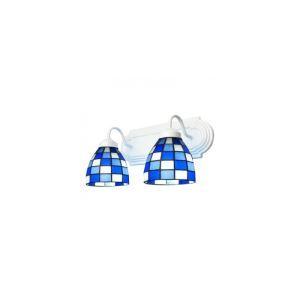 (Entrepôt UE) Beau Deux-lampes Lampe pour salle de bain Caractéristiques Bleu et Blanc Grille Motif Verre abat-jours