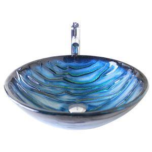 (Entrepôt UE) Moderne mode rond bleu lavabo vasque évier en verre trempé avec robinet haut courbé ensemble