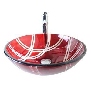 (Entrepôt UE) Moderne mode rond Rouge lavabo vasque évier en verre trempé avec robinet haut courbé ensemble