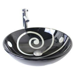 (Entrepôt UE) Moderne mode rond noir lavabo vasque évier en verre trempé avec robinet haut courbé ensemble