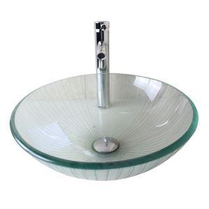 (Entrepôt UE) Moderne mode rond transparent lavabo vasque évier en verre trempé avec robinet haut courbé ensemble