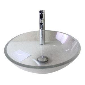 Moderne mode rond transp lavabo vasque évier en verre trempé avec robinet haut courbé ensemble