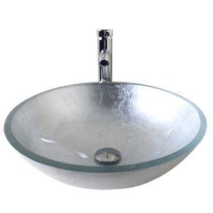 (Entrepôt UE) Moderne mode rond argent pâte d'argent lavabo vasque évier en verre trempé avec robinet haut courbé ensemble