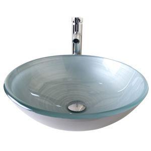 (Entrepôt UE) Moderne mode rond blanc argenté lavabo vasque évier en verre trempé avec robinet haut courbé ensemble